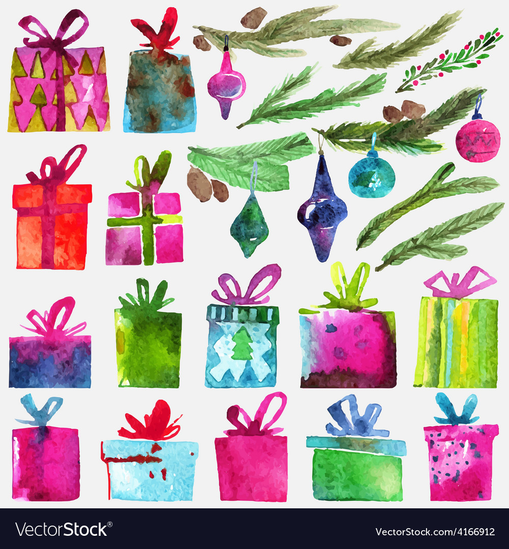 Watercolor Christmas set with gift boxes holly