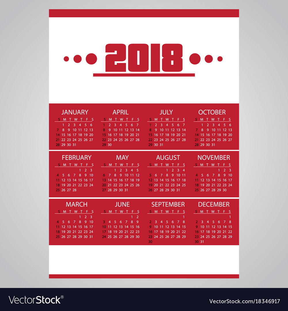 2018 simple business red wall calendar with white vector image