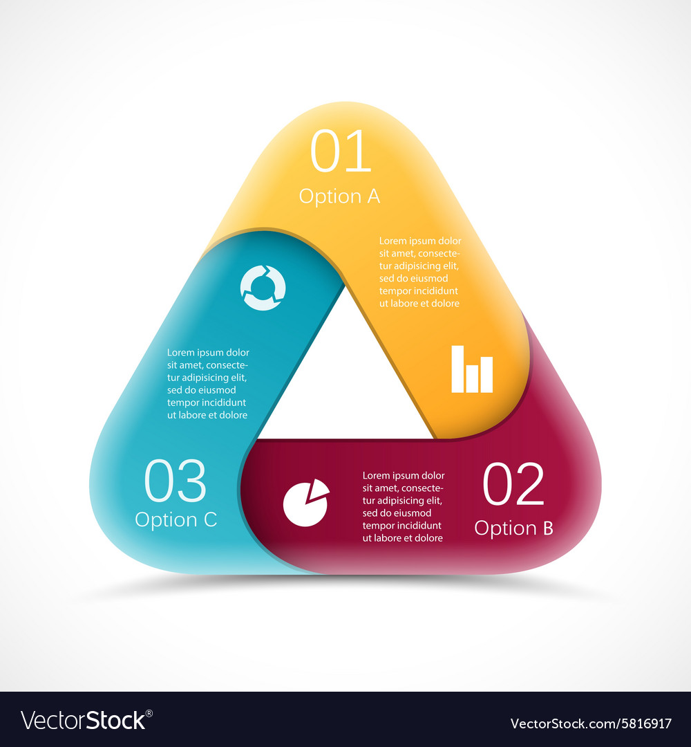 circle 3d triangle infographic template royalty free vector