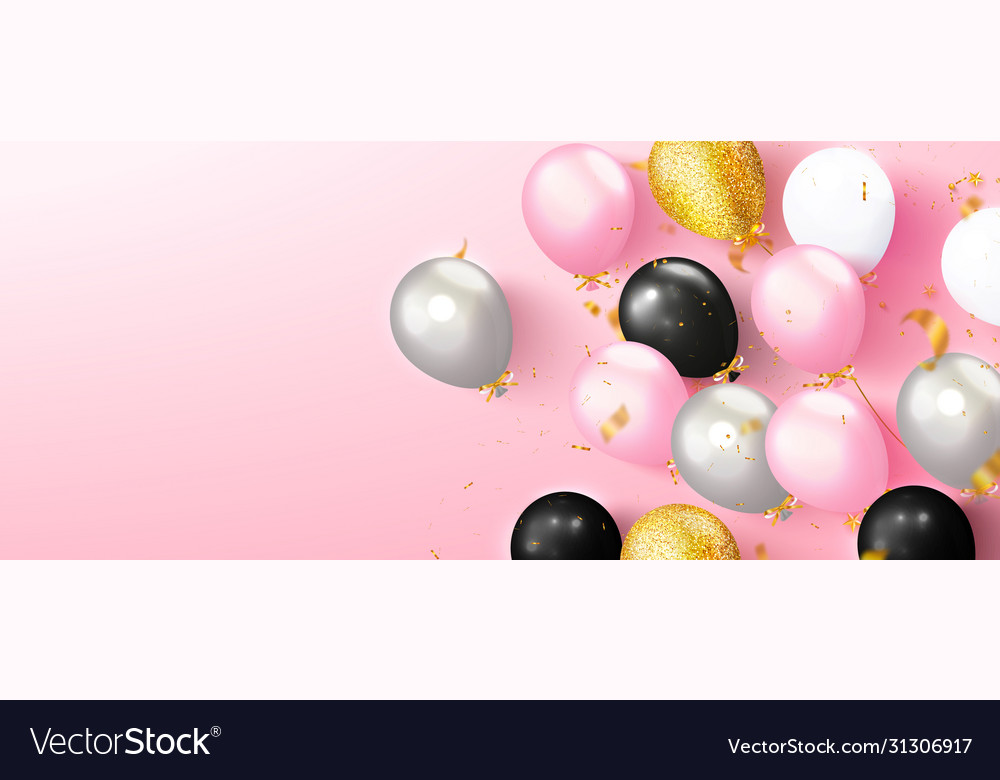 Colored balloons and flying golden serpentine on