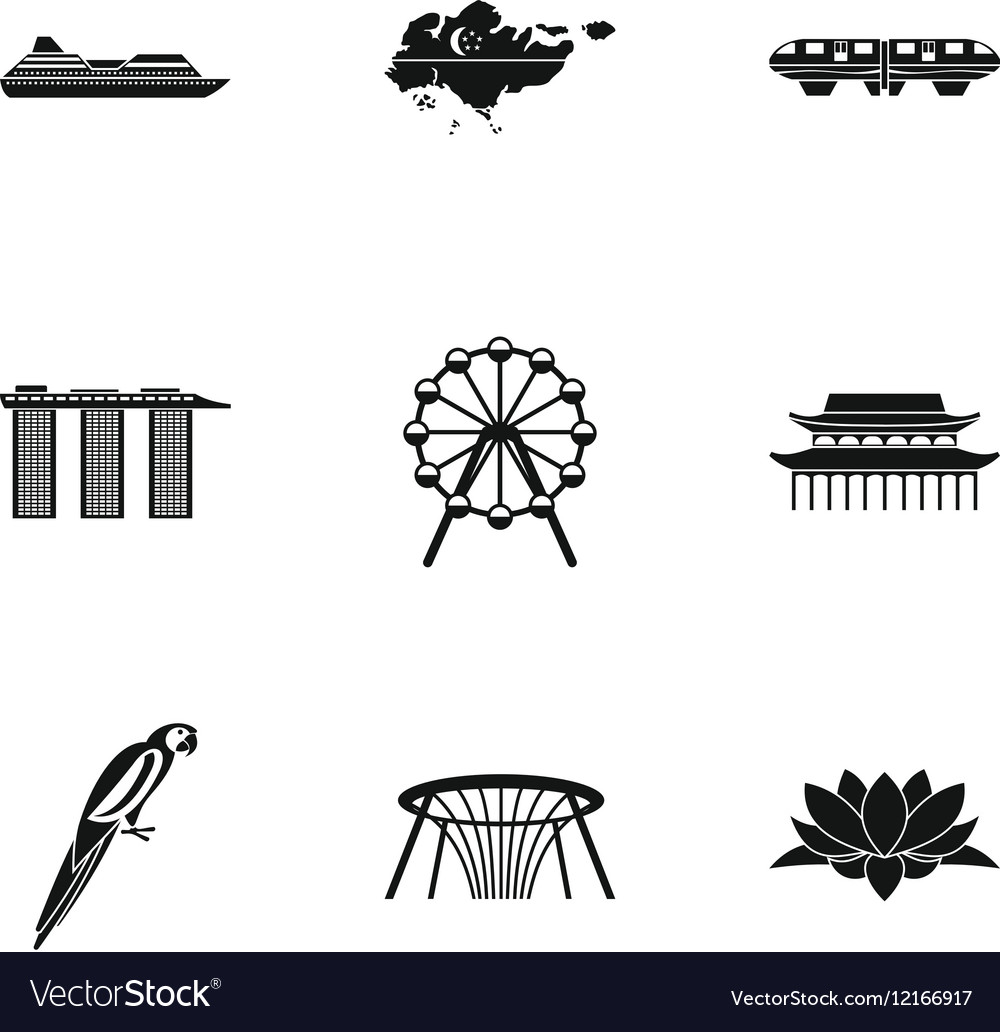 Country Singapore icons set simple style vector image