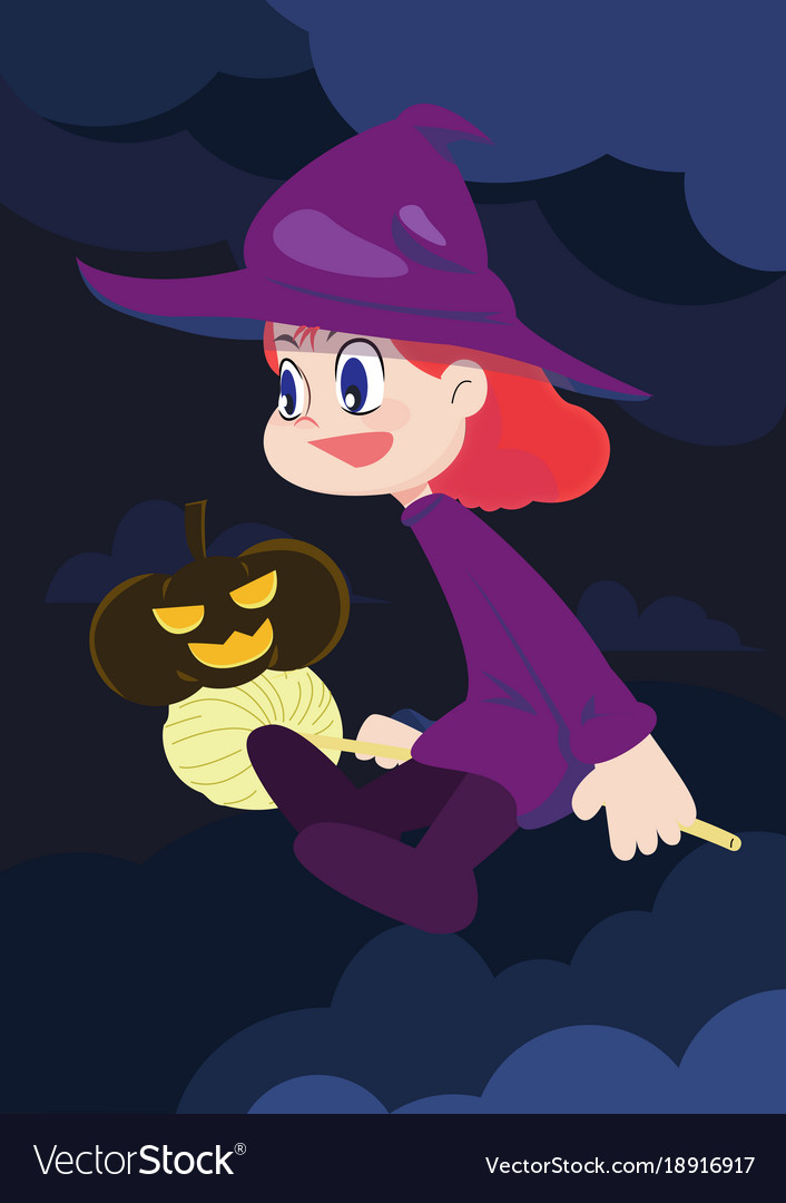 Cute witch girl character with pumpkin