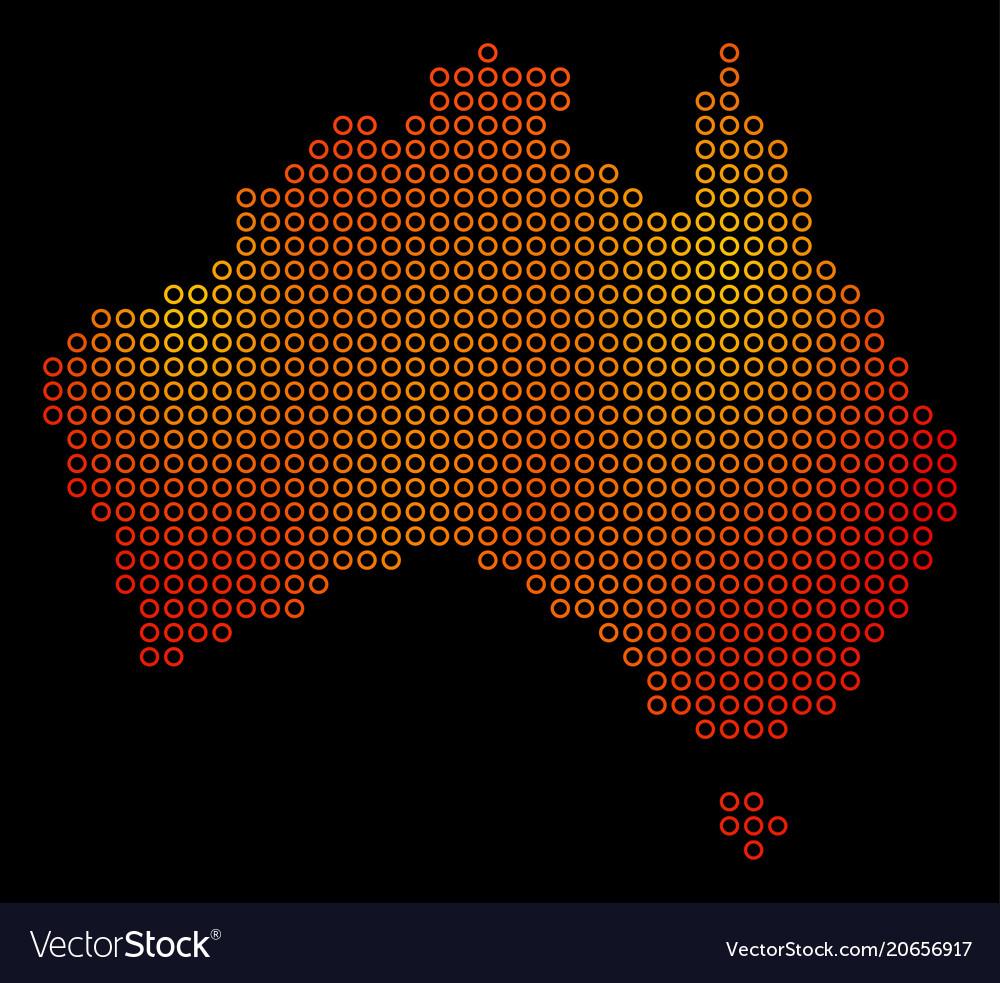 Dot fire australia map Royalty Free Vector Image