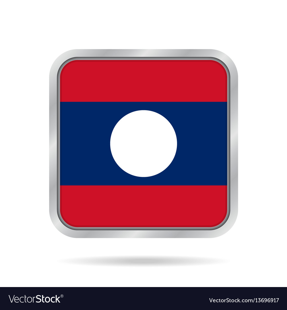 Flag of laos shiny metallic gray square button