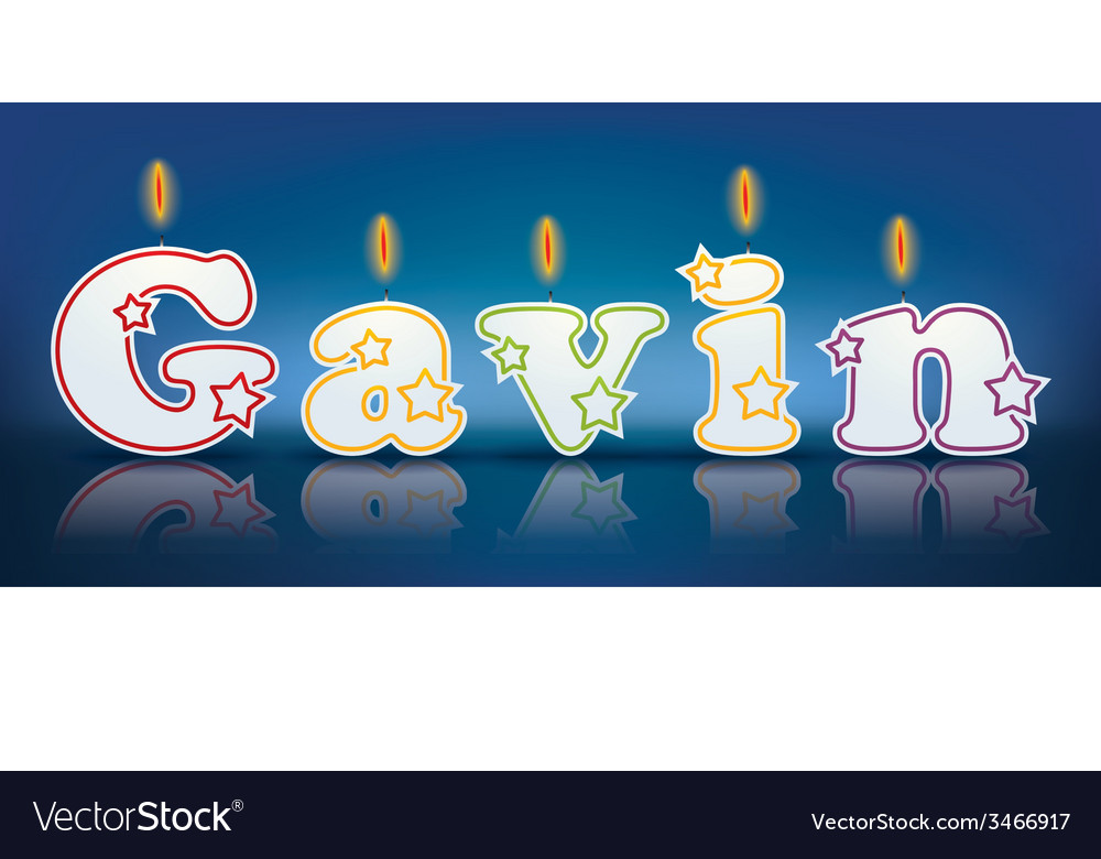 GAVIN written with burning candles vector image