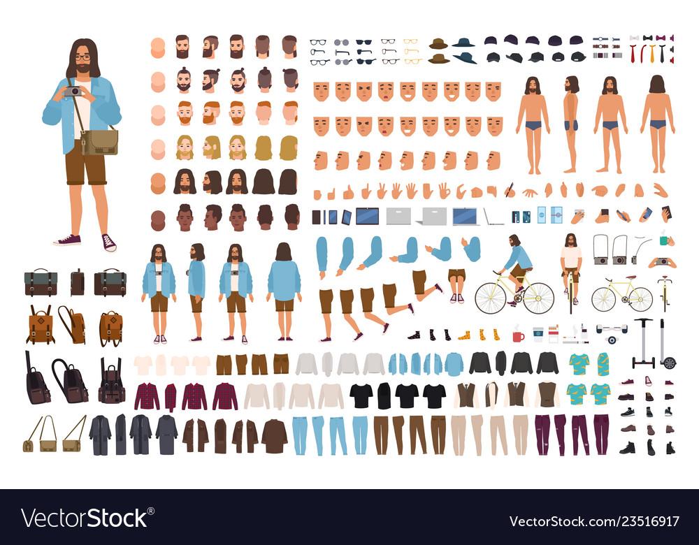 Hipster guy diy set or animation kit man dressed