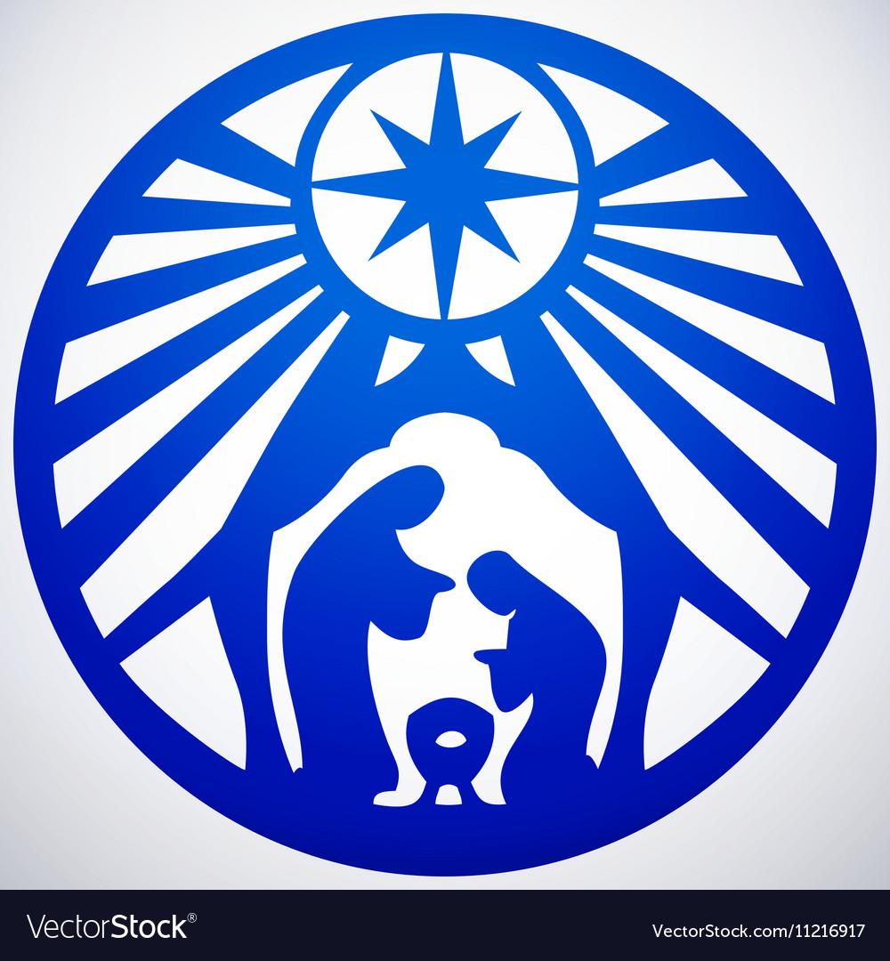 Holy family Christian silhouette icon on white