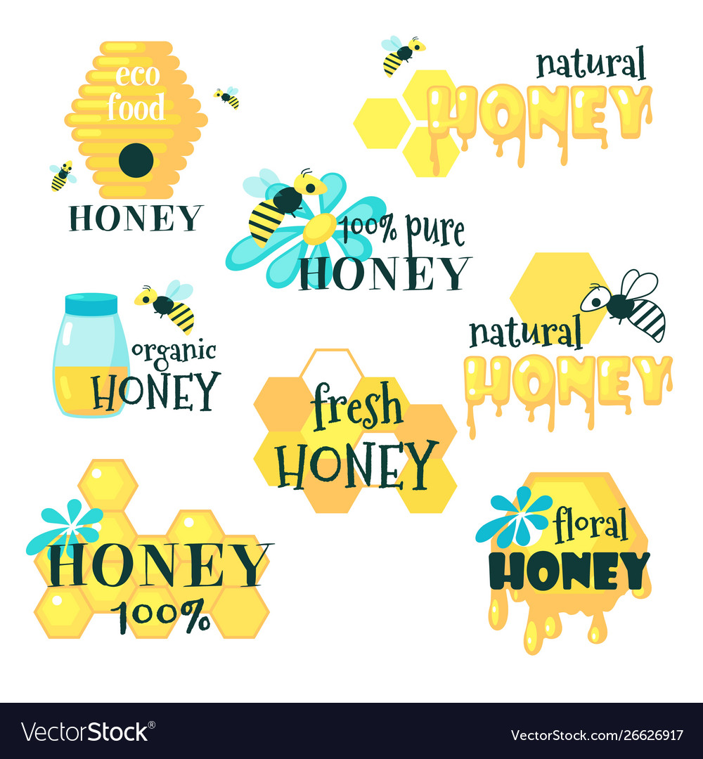 Honey set with lettering flat isolated