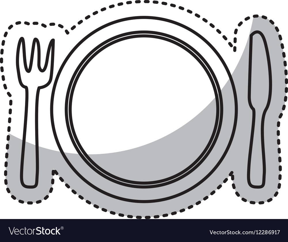 Kitchen dish and cutlery isolated icon