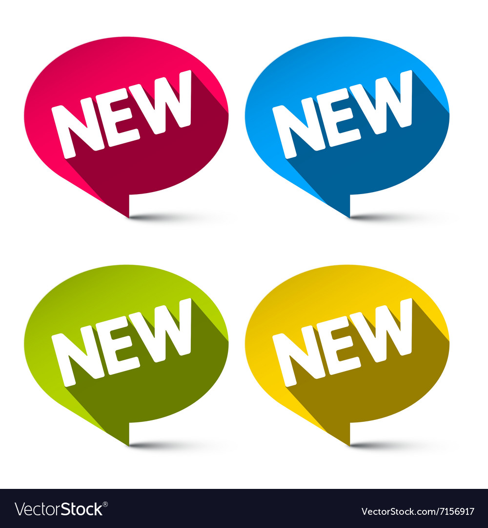 New Labels Set - Colorful Ovals Tags Isolated on