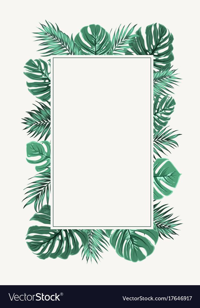 rectangular border frame green tropical leaves vector image palm vector kayak palm vector clip art