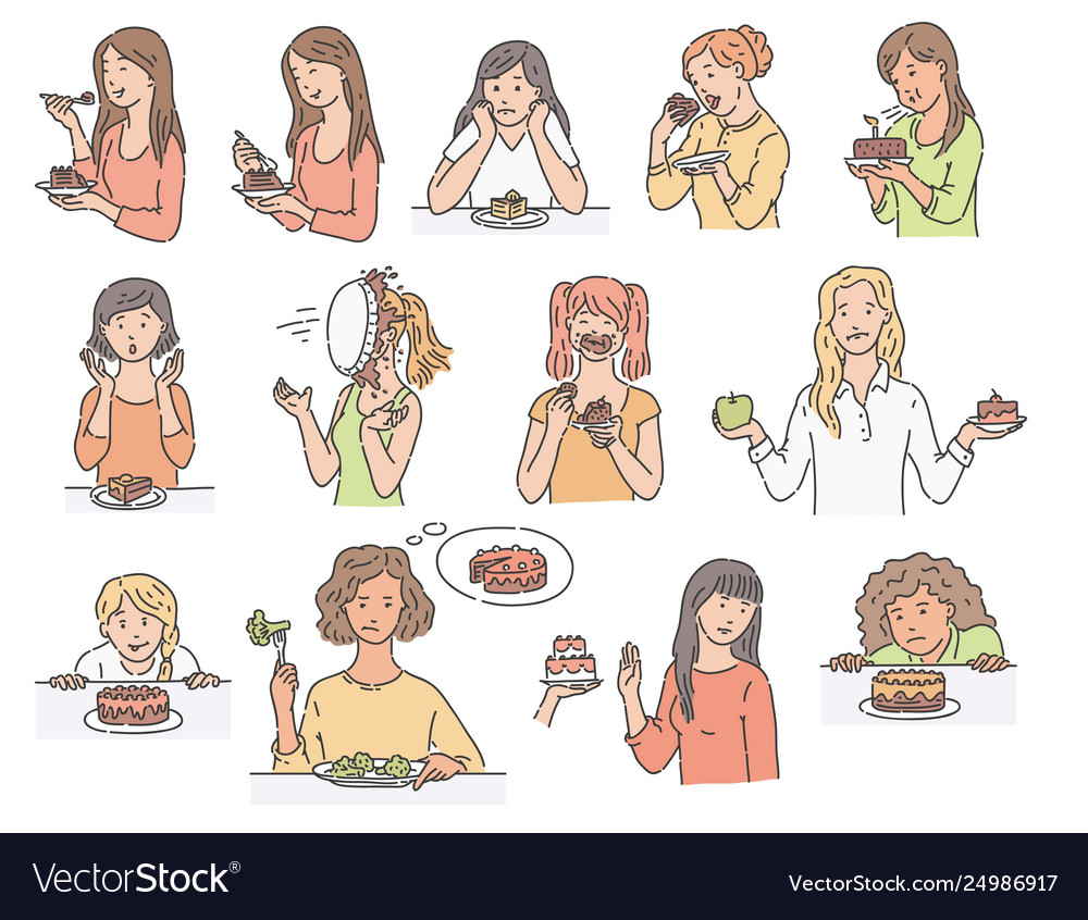 Set female characters with dessert cake sketch
