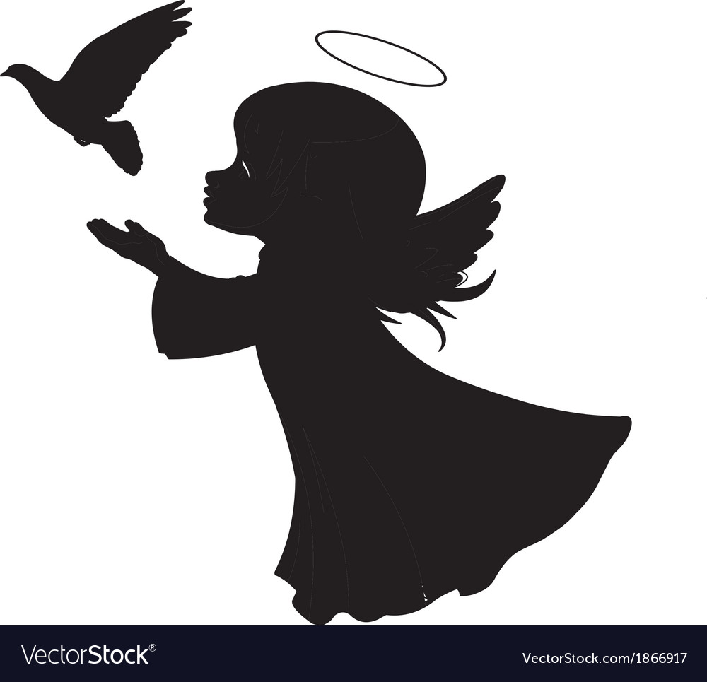 Silhouette of a angel with dove vector image
