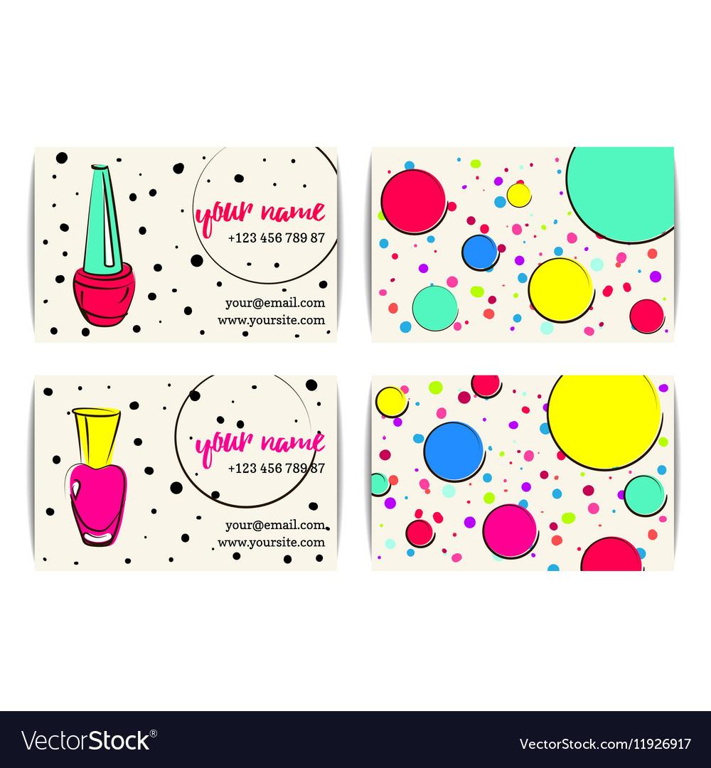 Sketchy nail art buisness cards templates set vector image