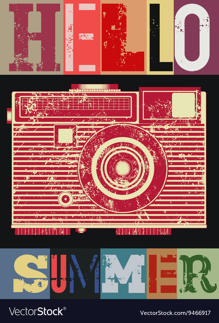 Summer typographic retro grunge poster vector image