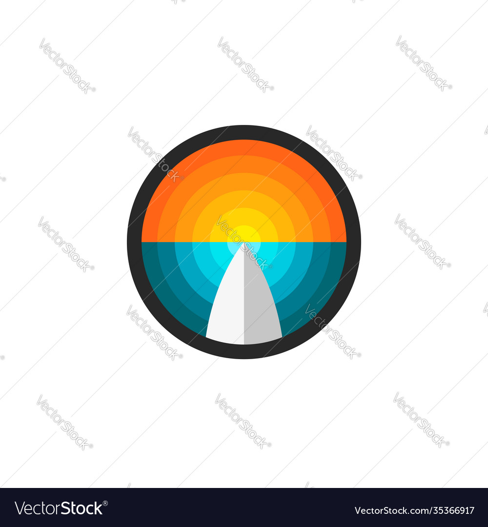 Surfboard abstract ocean and sunset round logo