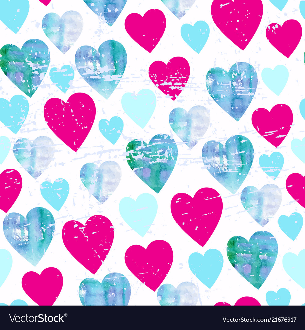 Watercolor hearts seamless pattern valentines day