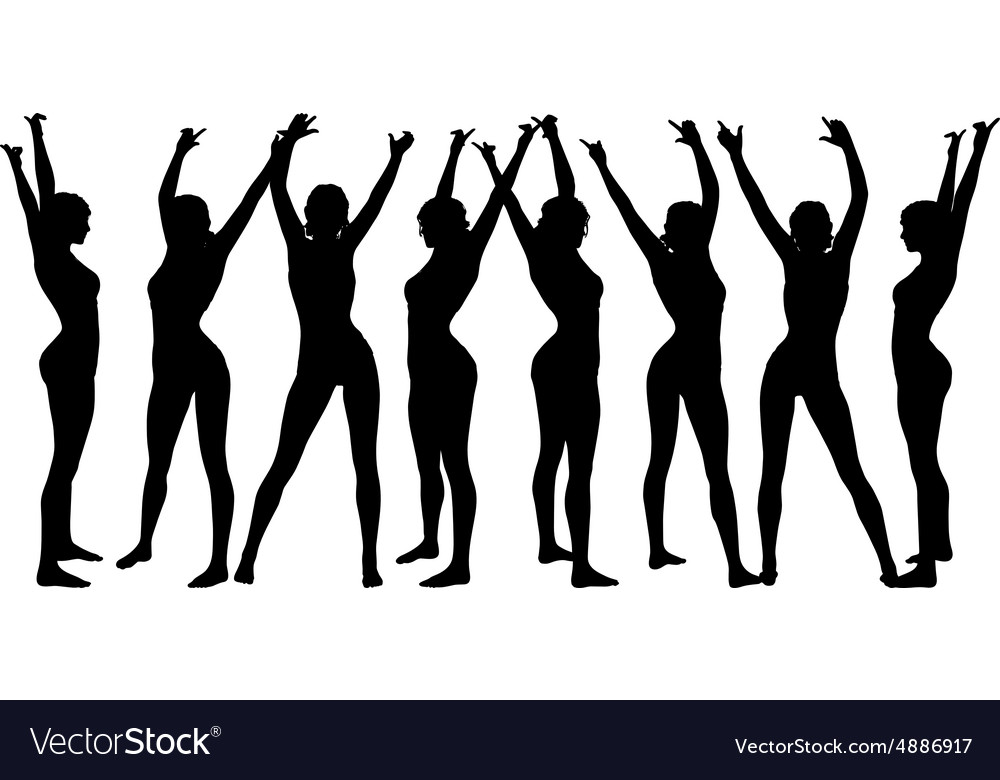 Woman silhouette with hand gesture hands-up