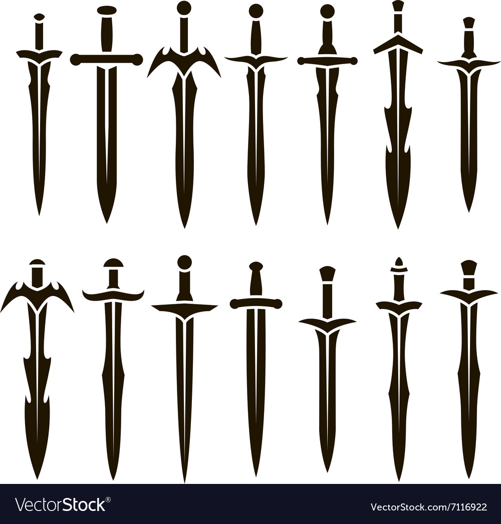 Black silhouettes of swords vector image