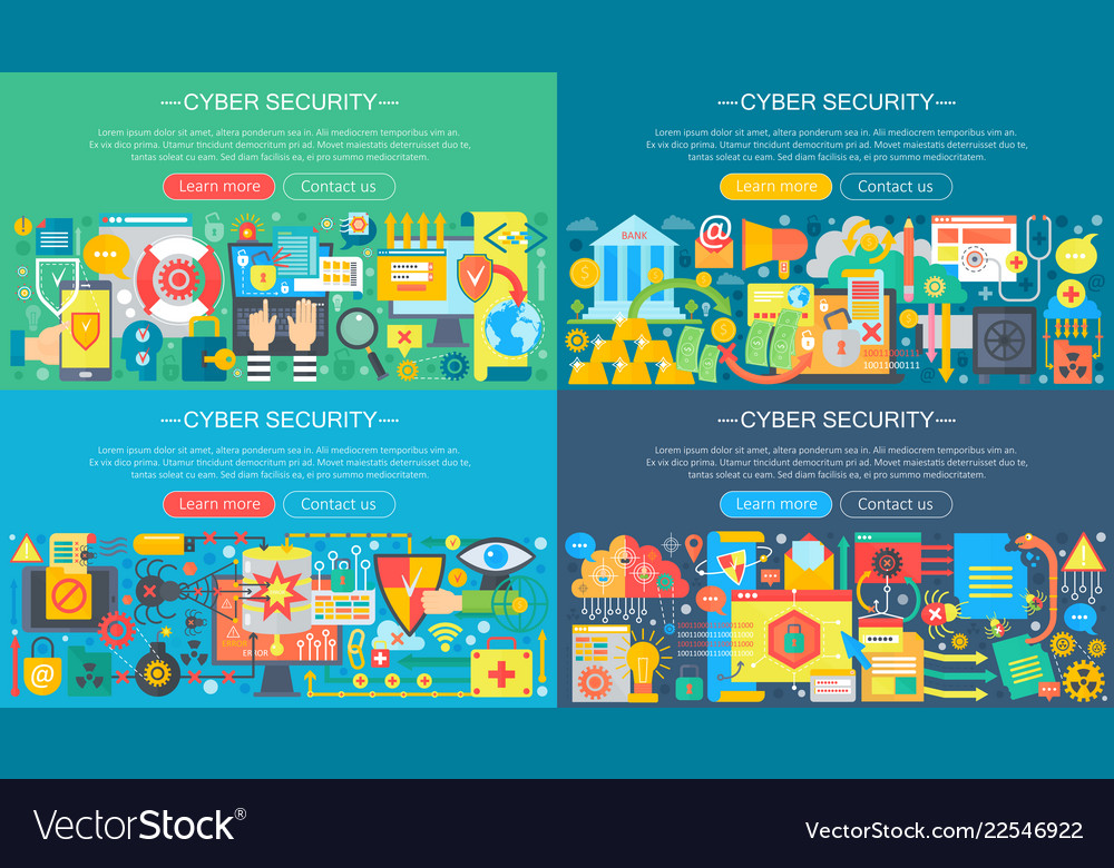 Collection of flat cyber security design