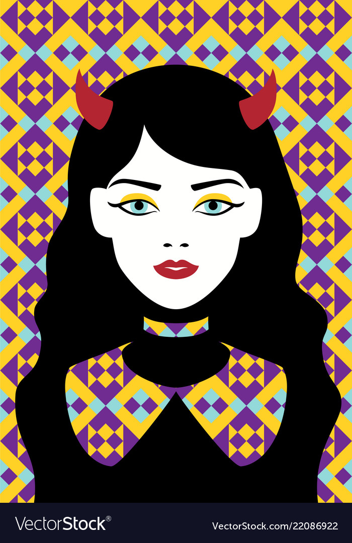 Girl with horns and an apron flat art
