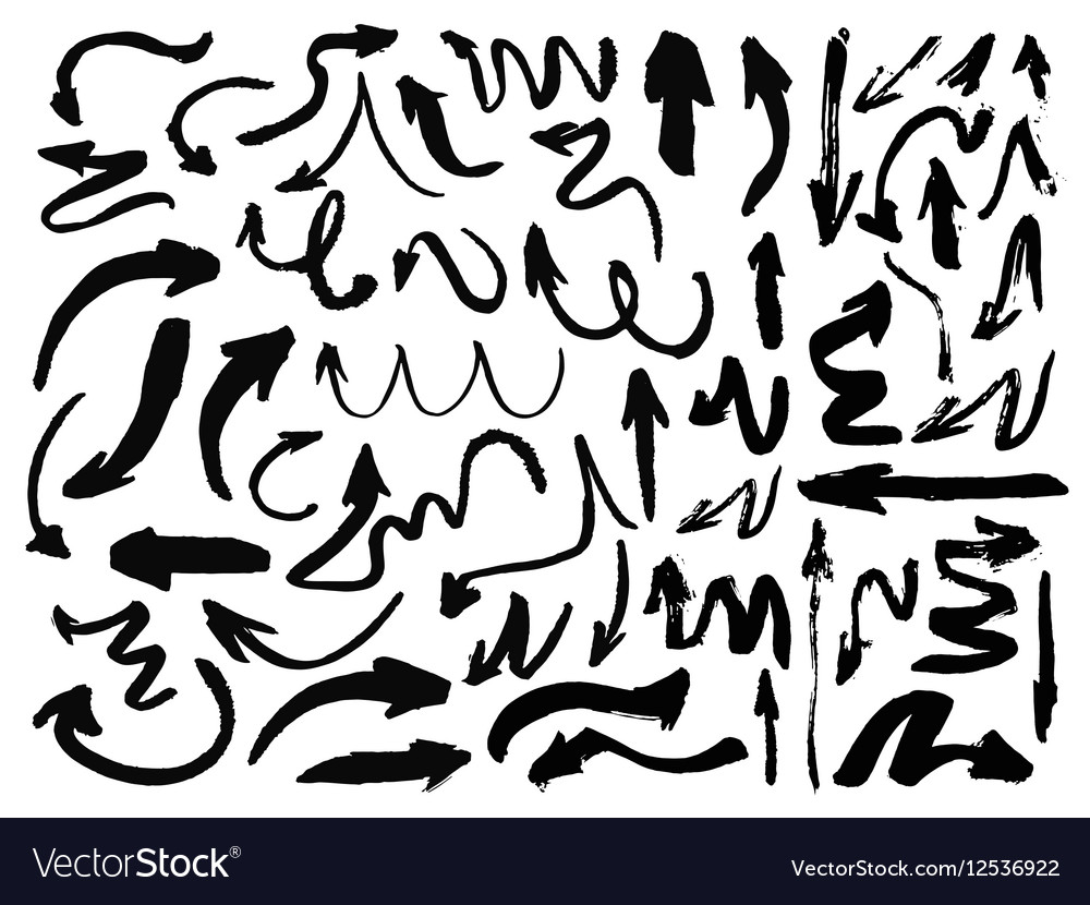 Hand drawn arrows set isolated vector image