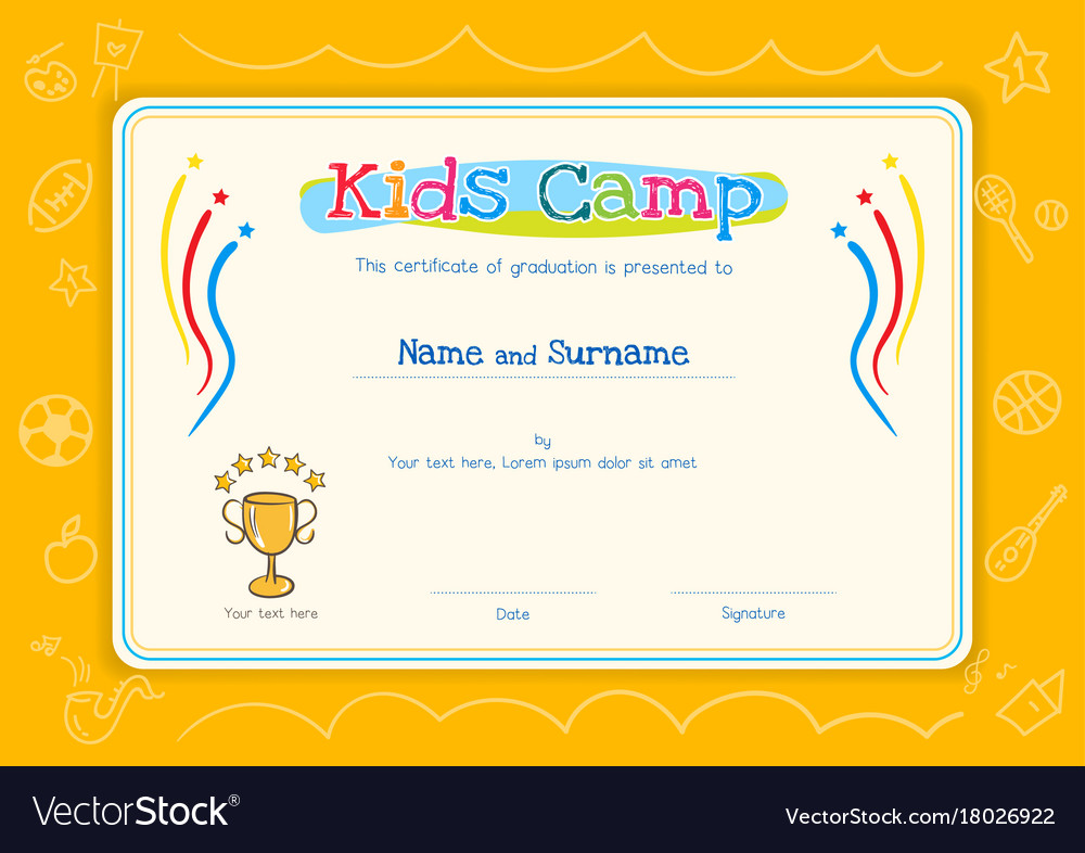 Kids Diploma Or Certificate Template For Kids Vector Image