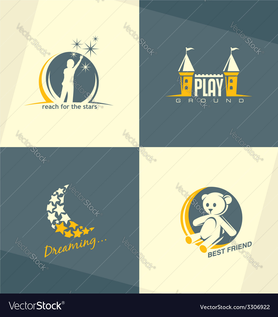 Kids world logo concepts vector image