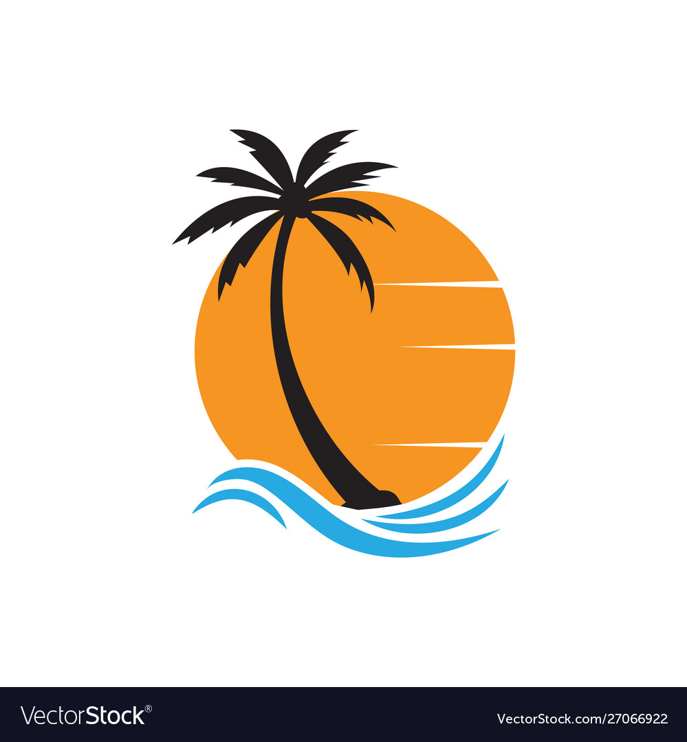 Palm tree graphic design template isolated
