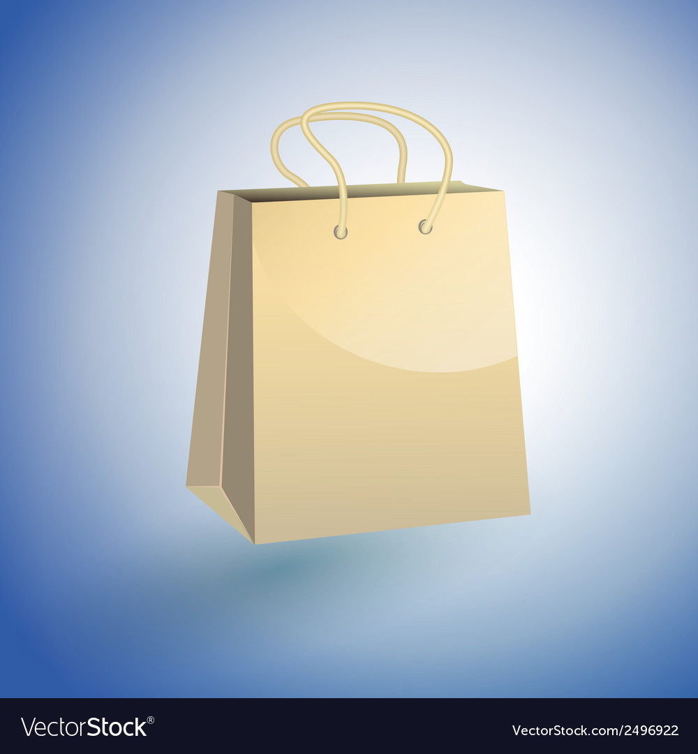Paper Shopping Bag on blue background