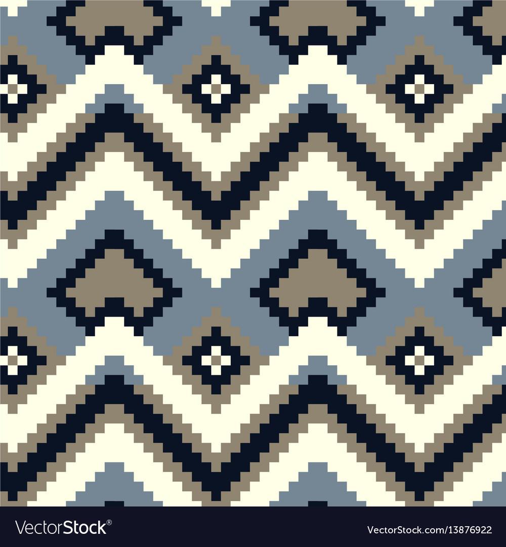 Pixel zig-zag seamless pattern