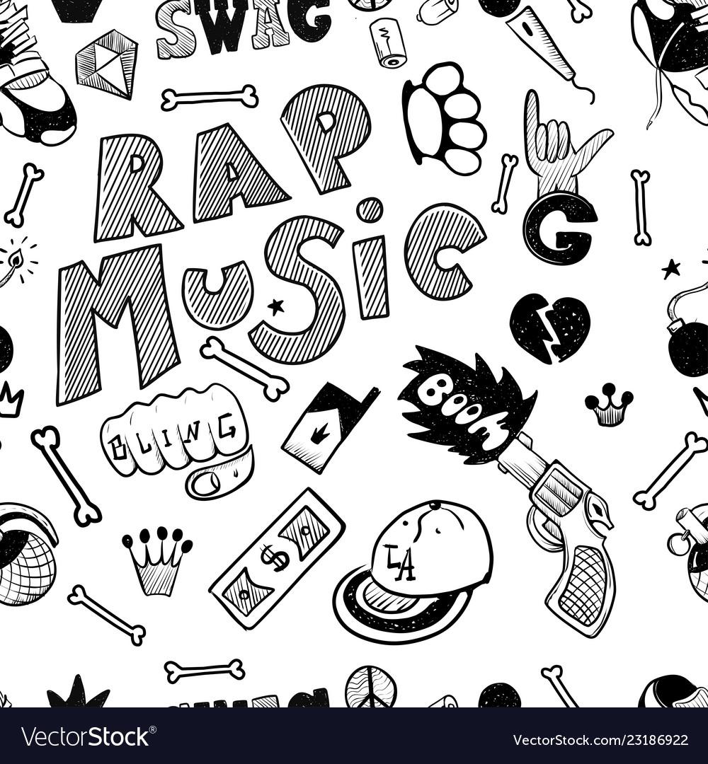 Rap music hip hop doodle pattern with rap