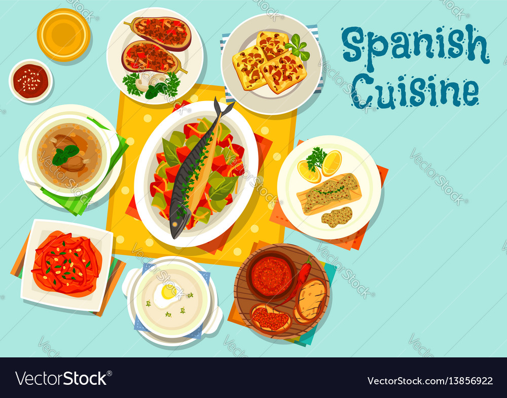 Spanish cuisine healthy lunch icon design