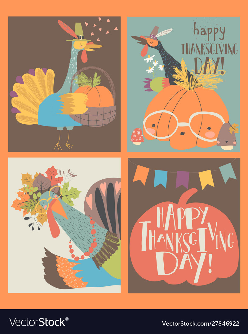 Sset thanksgiving card with turkey and pumpkin
