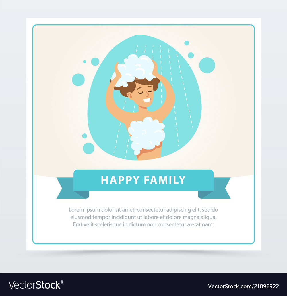 Young woman washing her head with shampoo daily vector image