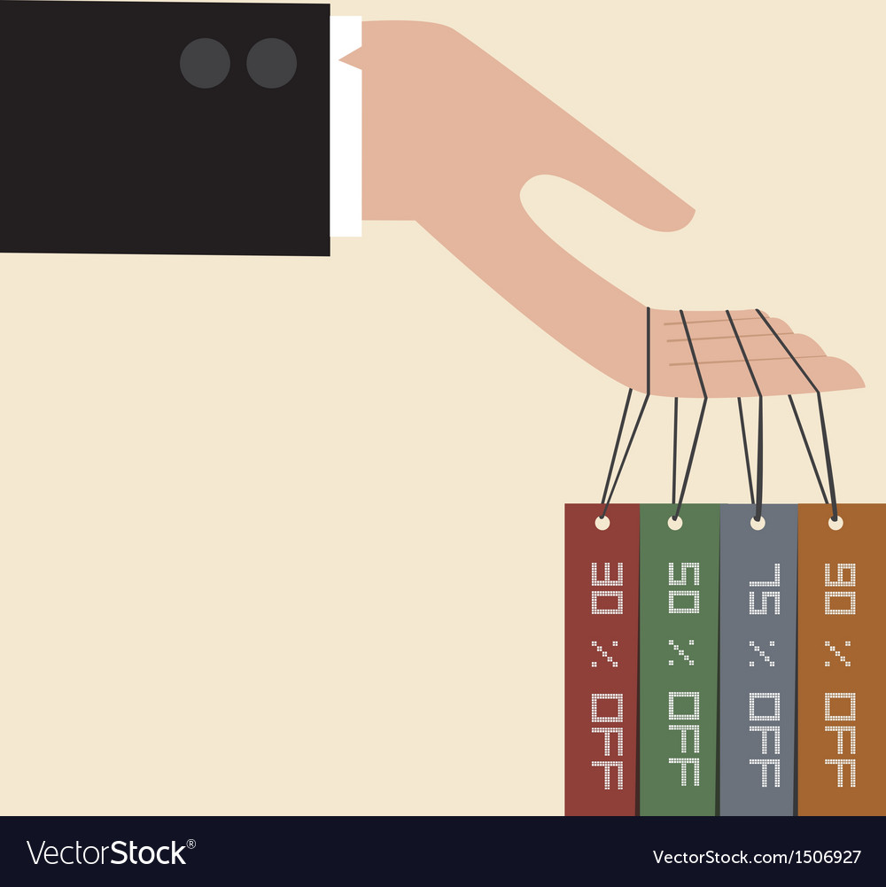 Businessman hand hang with discount tag vector image