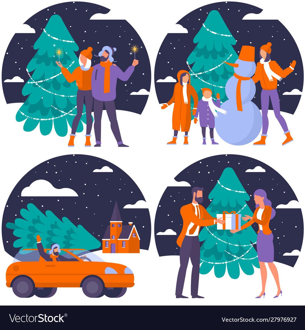 Christmas flat design set