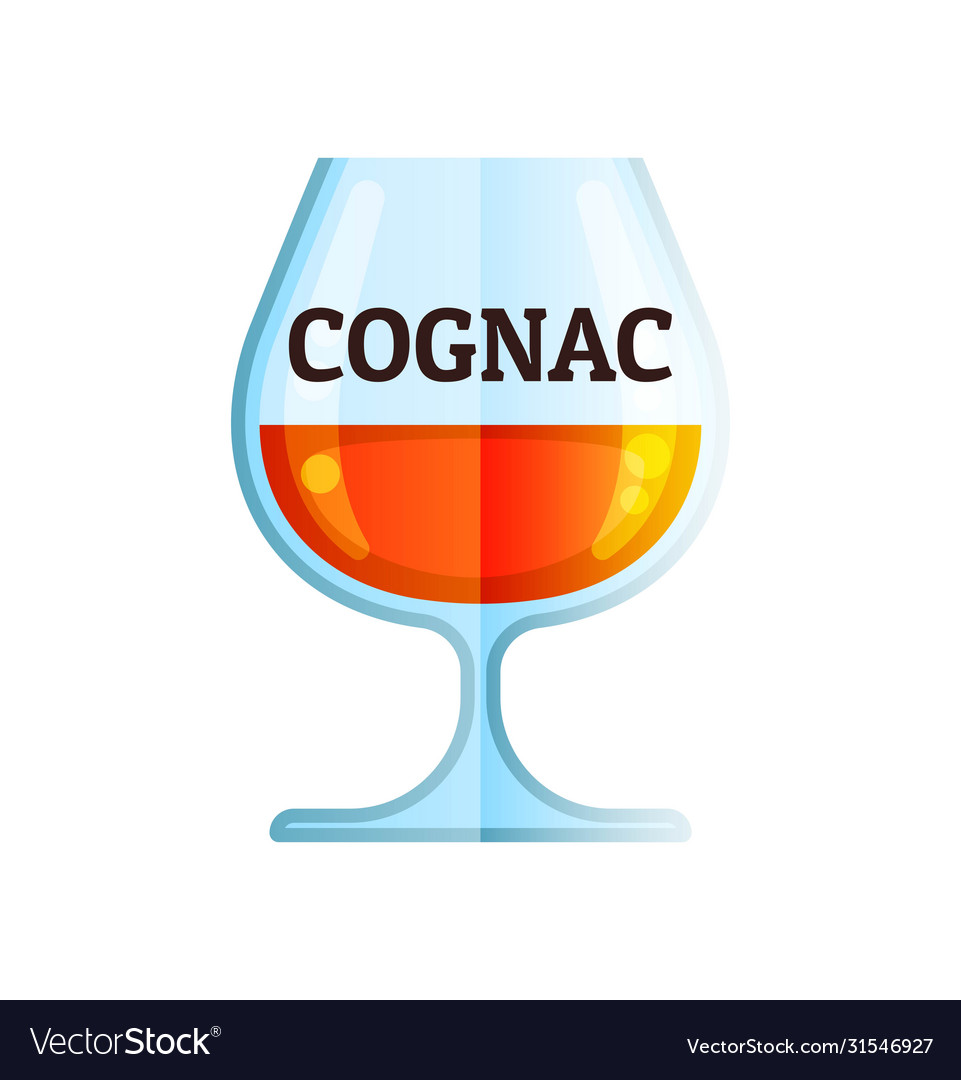 Cognac whiskey icon flat alcohol drink