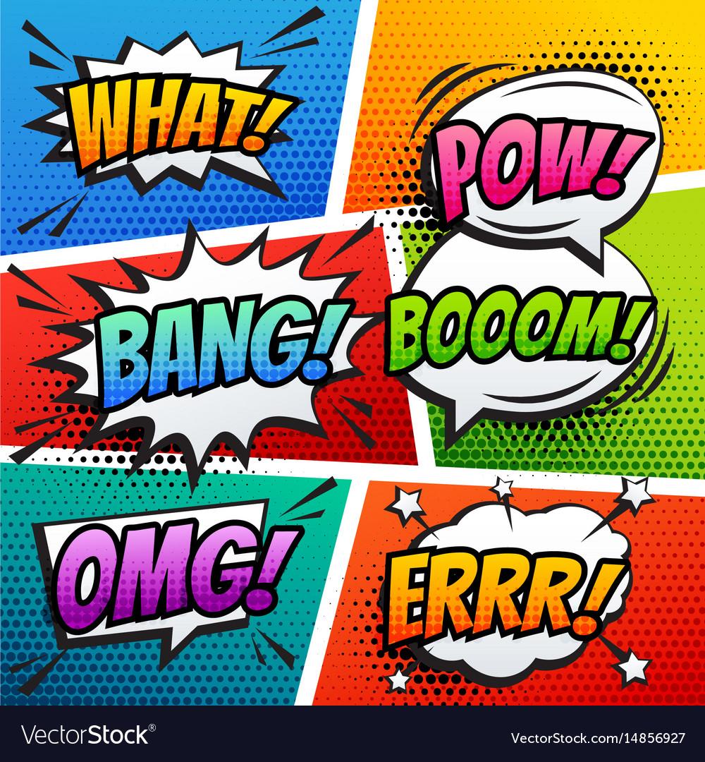Comic sound effect speech bubble pop art in