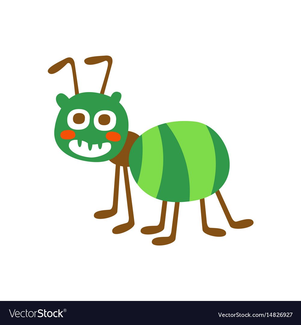 Cute cartoon green ant colorful character