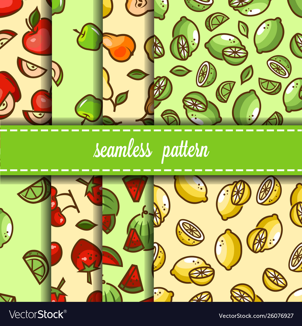 Fruit and berry seamless pattern set