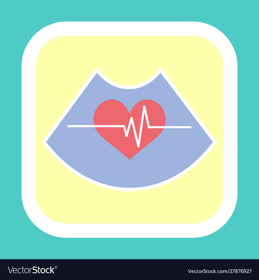 Heart and rhythm line icon cardiogram sign