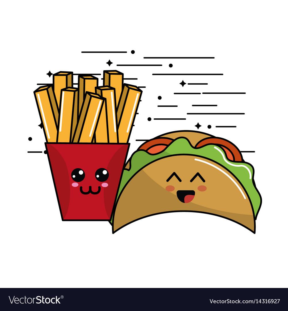 Kawaii fast food icon adorable expression