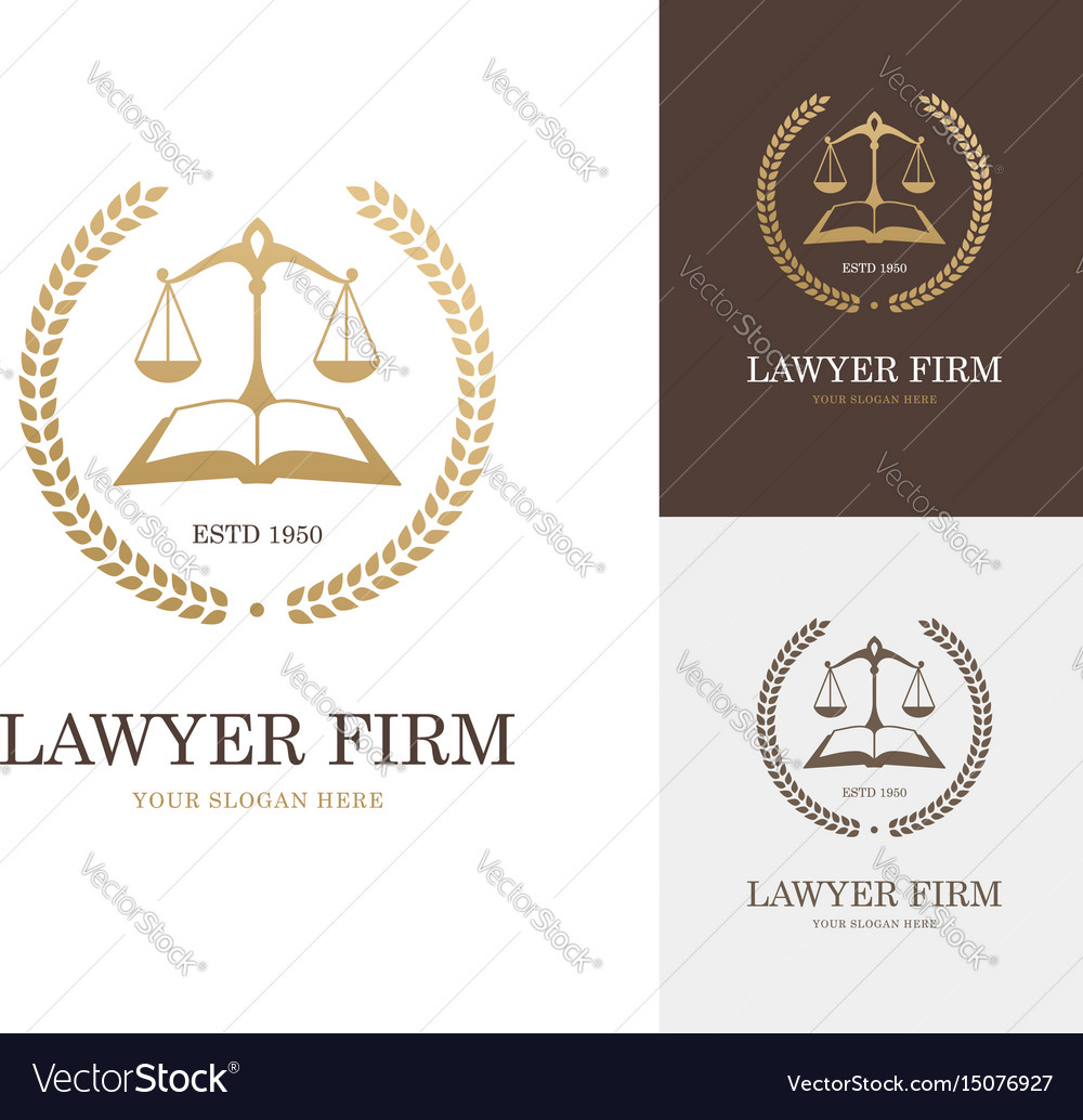 Law label with balance scale open book and wreath