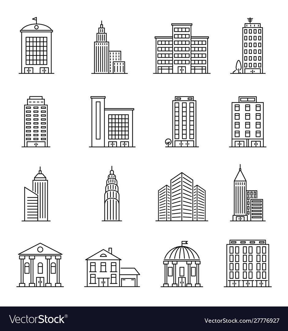 Line buildings modern silhouette skyscrapers