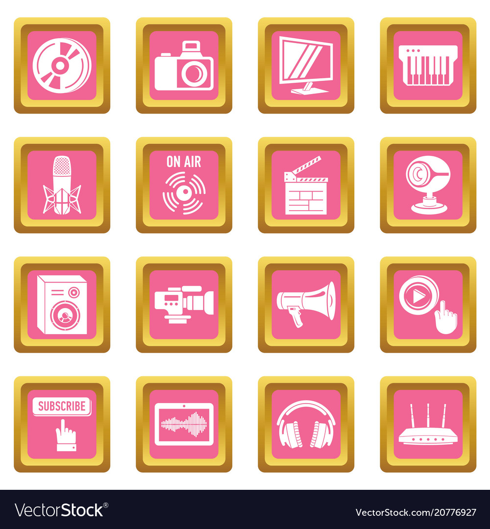 Multimedia internet icons set pink square