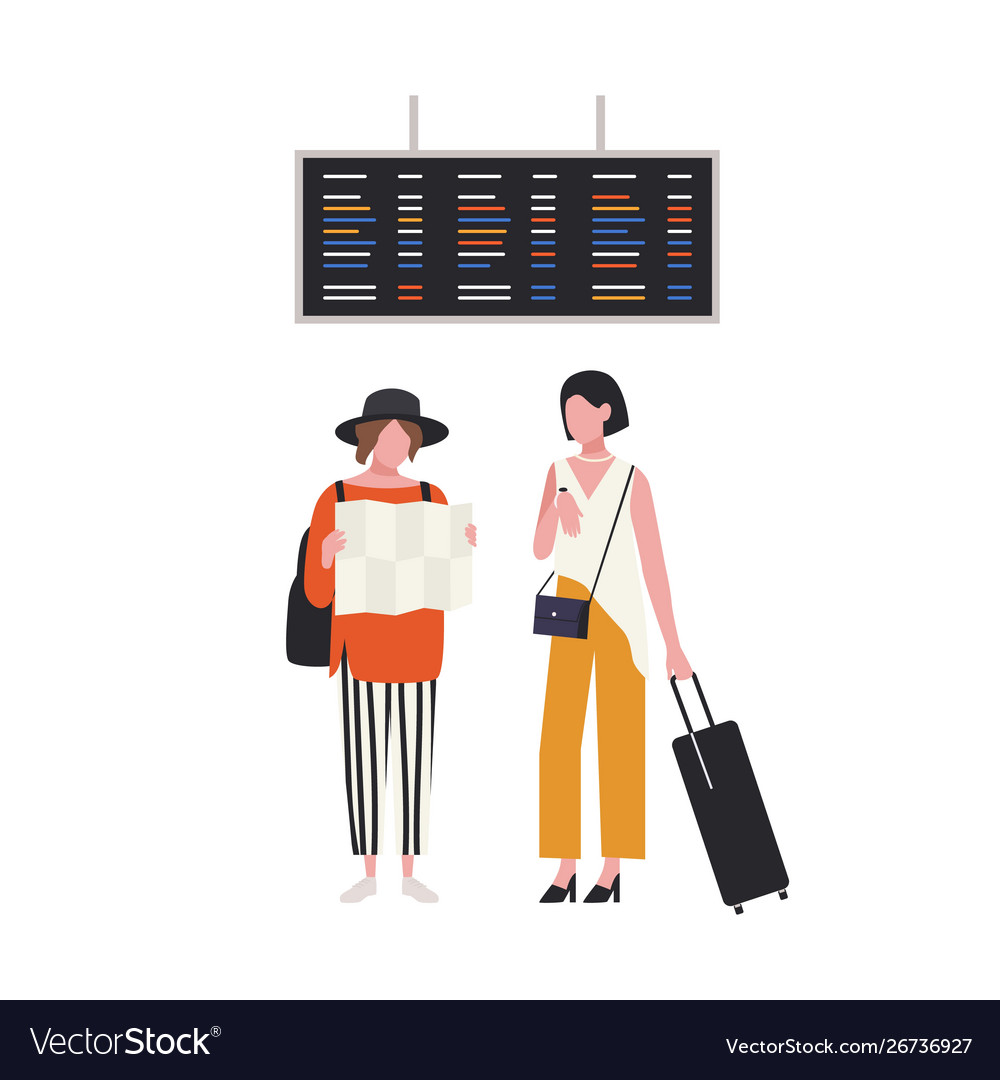 Pair girls with map and suitcase waiting at