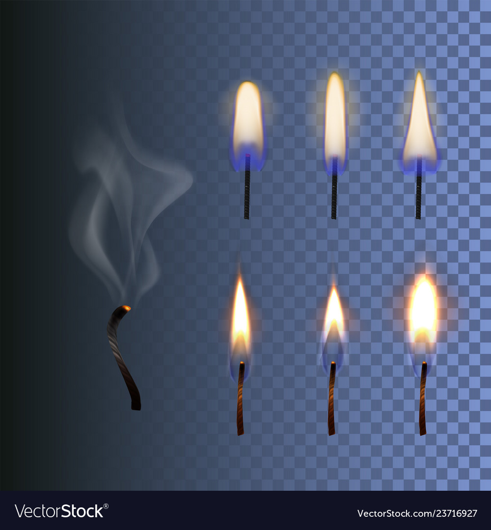 Set of fire realistic candle flame and