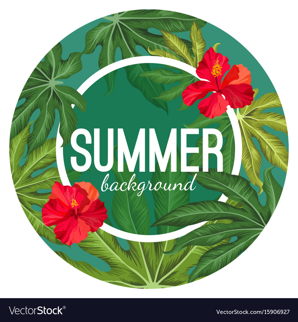 Summer background with tropical leaves and flower