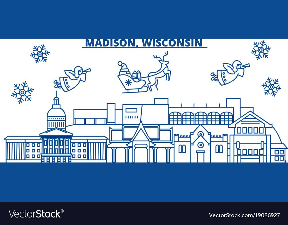 Usa wisconsin madison winter city skyline merry vector image